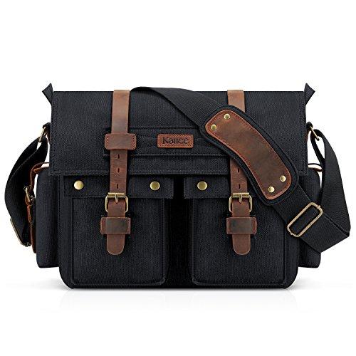 (Kattee British Style Retro Unisex Canvas Leather Messenger Shoulder Bag Fits 14.7