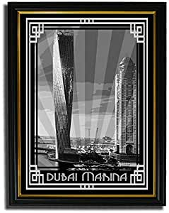 Dubai Marina- Black And White With Silver Border F08-nm (a3) - Framed
