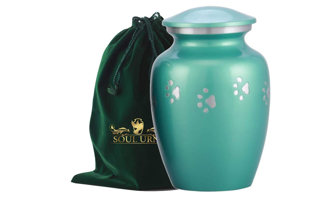 Make Your Companion Rest in This Quality Urn for Dog or Cat Brass Pet Urn with Horizontal Pewter Paw for Dogs Ashes and Cats 6 Inch Tall Holds Remains Upto 40 Lbs SOULURNS Include Velvet Bag