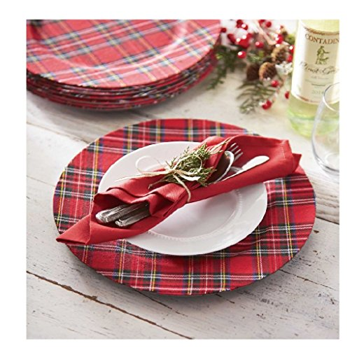 Mud Pie Christmas Dining Red Tartan Plaid Plate Charger Set of 4