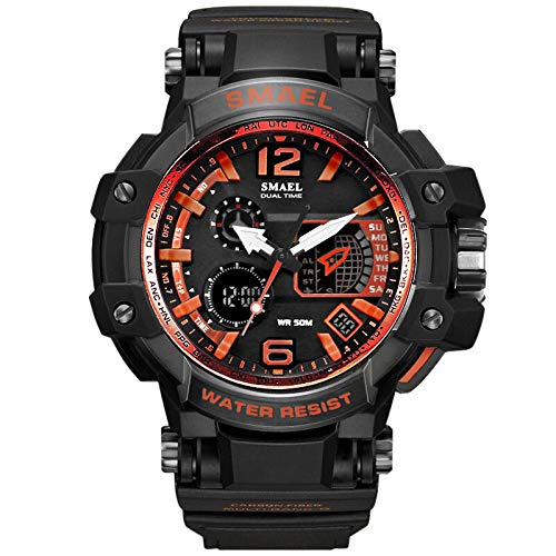 SMAEL Sport Men Digital LED Electronic ES Rubber Wristes Quartz Casual Simple Chronograph Watch