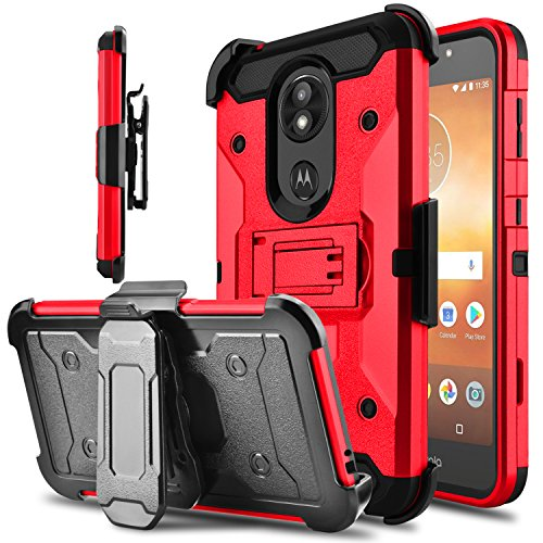 Moto E5 Play Case, Moto E5 Cruise Case, Tevero Built-in Kickstand [Heavy Duty Protection] Holster Series Rotating Belt Clip Rugged Full Body Armor Combo Phone Case Cover -