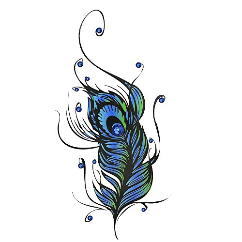 Temporary Tattoos for Guys or Women – Designs for Arms Shoulders Chest & Back (Blue Feather) (Sexy Scottish Ladies)
