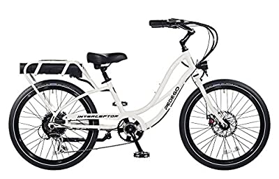 "Pedego Interceptor 24"" Step Thru White with Black Balloon Package 48V 15Ah"