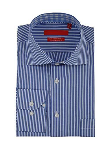 (DTI GV Executive Mens Striped Dress Shirt Cotton Spread Collar Barrel Cuff (15.5
