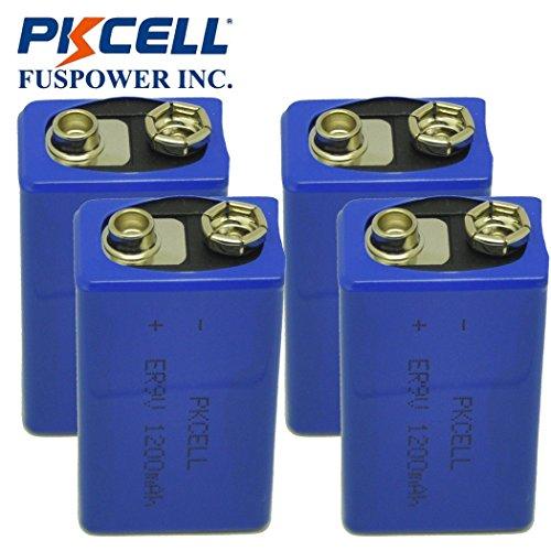 9V Battery 1200mAH Lithium ER9V for Smoke Detectors Pack of 4 ()