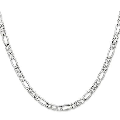 cb934b62e582 Amazon.com  14K White Gold 5.35MM Semi-Solid Figaro Link Chain ...