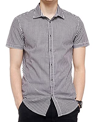Calvin Klein Men's Check Button down Short Sleeve Shirt