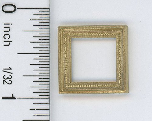 Dollhouse Miniature 1:12 Scale Tiny Square Fancy Gold Picture Frame (12 Scale 1 Miniature)