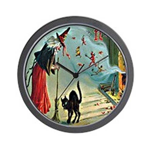 CafePress Vintage Halloween Witch Black Cat Wall Clock Unique Decorative 10