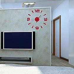 Peize HOT!!! 3D DIY Wall Clock Mirror Surface Sticker Modern Home Office Decor (Red)