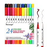 Dainayw 24pcs Calligraphy Pens, Colored Pens Dual Tip Art Marker, Writing Pens, Fineliner Felt Tip Water Color Drawing Paintbrush Highlighters