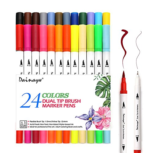 Dainayw 24pcs Calligraphy Pens, Colored Pens Dual Tip Art Marker, Writing Pens, Fineliner Felt Tip Water Color Drawing Paintbrush Highlighters by dainayw