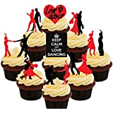 Love to Dance - Red and Black Dancing Silhouettes Party Pack, Edible Cupcake Toppers - Stand-up Wafer Cake Decorations by Made4You
