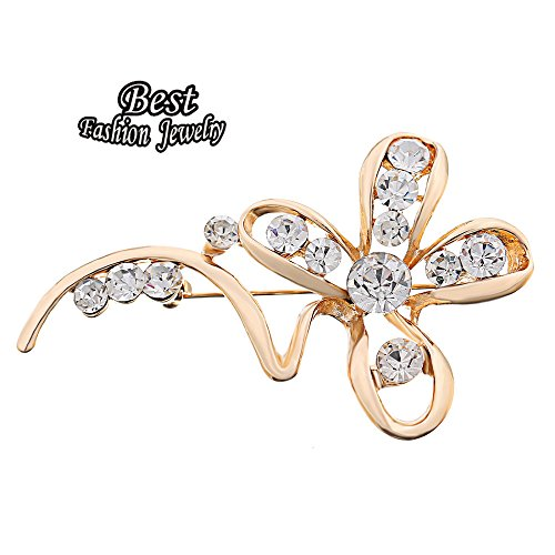 Price comparison product image Bosun(TM) Golden Plated Hollow Four Petals Flower Brooch For Women Synthetic Rhinestone Decoration Banquet Accessory