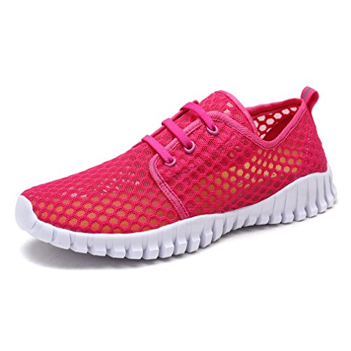 KEESKY Women's Water Shoes Athletic Sport Aqua Shoes Rose Red Size 8