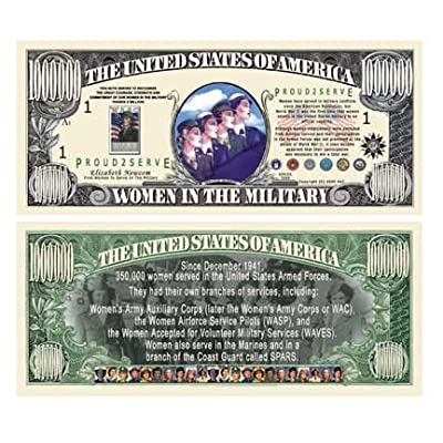 SET OF 5 BILLS-WOMEN IN THE MILITARY COMMEMORATIVE MILLION DOLLAR BILL: Toys & Games