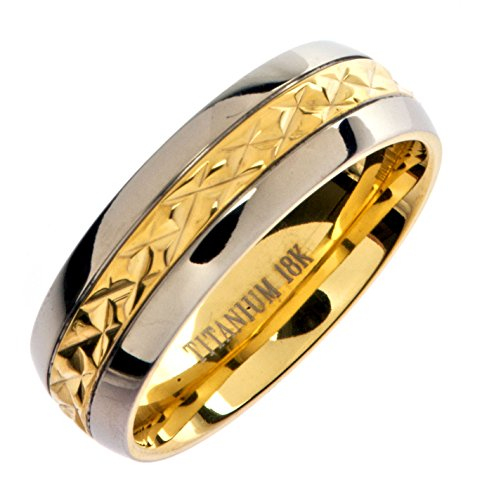 MJ Metals Jewelry 7mm 18K Gold Plated Wedding Ring Grade 5 Titanium Band Comfort Fit