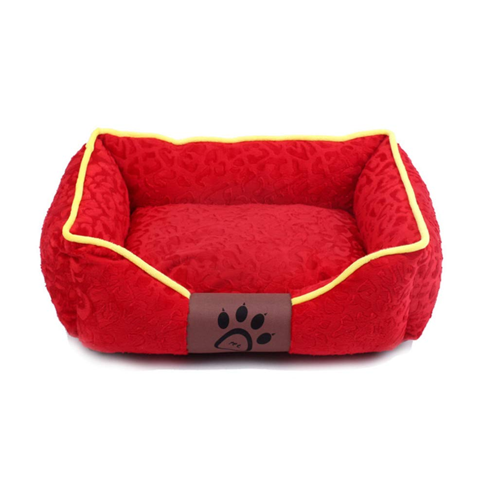 Red Large Red Large MEIHAO Washable Rectangular Dog Bed, Soft Pet Sleepping Bed Sofa Kennel Nest WarmerCushion Pet House for Small Medium Large Dogs and Cats,Red,L