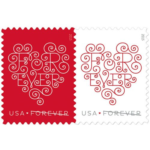 Forever Hearts Sheet of Twenty Forever Stamps - Great For Weddings Scott 4955 By USPS