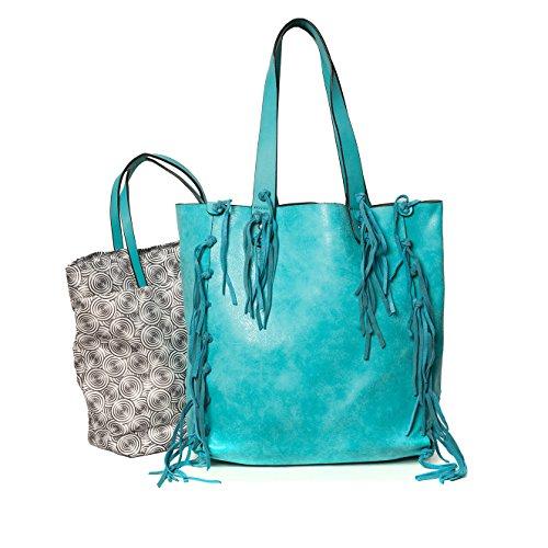 Tote By 34 15 formel Cm Fashion 2043 Pu Cuir Mod Ensemble 35 Sacs De Bag Turquoise cabas q1nZnzx