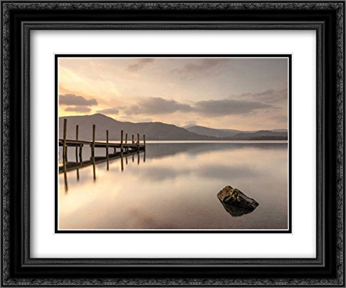 Pier on still lake 2x Matted 24x20 Black Ornate Framed Art Print by Frank, (Assaf Frank)