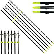 """Fay Outdoor Sport 34"""" Archery Hunting Fiberglass Arrows with Barb Grapple Point for Fishing Bow O"""
