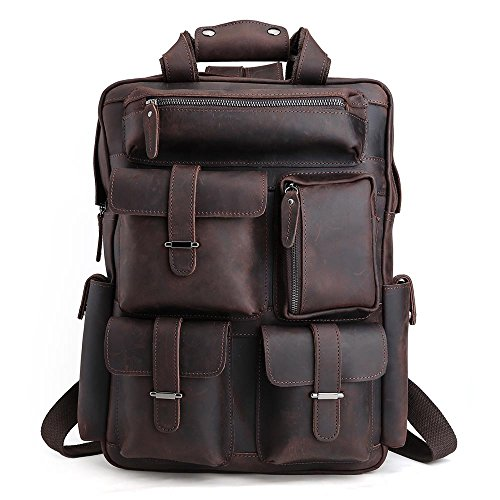Tiding Mens Retro Full Grain Genuine Leather 17 Inch Laptop Backpack Multi Pockets Large Capacity Shoulder Bag Travel Bag Dark Brown ()