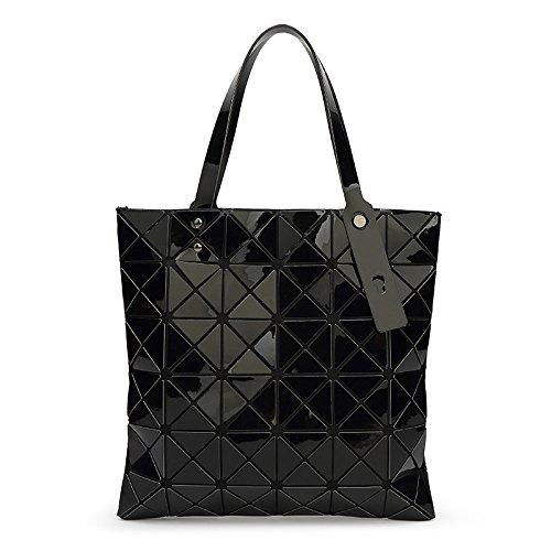 Dama Geometría Bolso Lingge Bolso Hombro Bolso Personalidad Moda Gran Capacidad Black