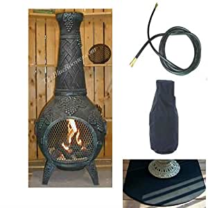 QBC Bundled Blue Rooster Grape Chiminea with Propane Gas Kit, Half Round Flexbile Fire Resistent Chiminea Pad, Free Cover, and 10 ft Gas Line Antique Green Color - Plus Free EGuide
