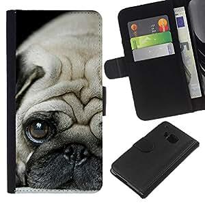 KLONGSHOP // Tirón de la caja Cartera de cuero con ranuras para tarjetas - Pug Cachorro triste raza canina perro Tiny - HTC One M9 //