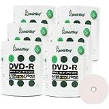 Smart Buy 600 Pack DVD-R 4.7gb 16x White Printable Inkjet Blank Media Record Disc, 600 Disc 600pk