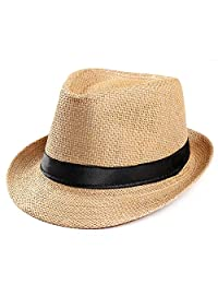 AoMoon Men and Women's Fedora Hat Summer Beach Hat Jazz Hat Sun Hat