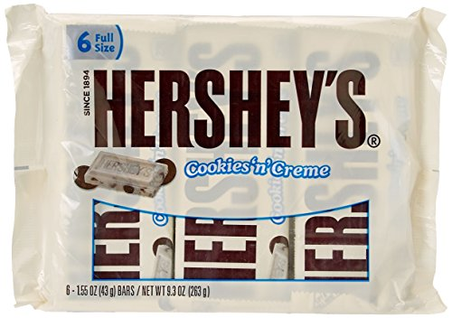 HERSHEY'S Cookies 'N Crème Candy Bar, White Creme with Cookie Bits, 6 Count - 1.55 Ounce Bar, 9.3 Ounce Package (Pack of 4) (Hershey's Cookies And Creme Halloween)
