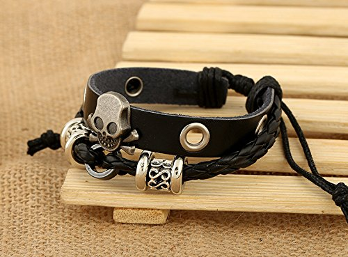Sunliy Leather Bracelet for Men Great Gift Wrap Bangle Handmade Jewelry Gift Teens Girl Party,Birthday,Anniversary