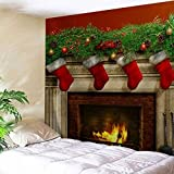 Unigds Xmas Art Home Wall Hanging Tapestry Wall Ornamentation Christmas Wall Décor (Fireplace, 150150)