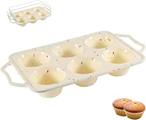 aag Non-Stick Silicone Muffin Pan,Muffin Pans with Grips and Stainless Steel Frame Inside,6 Cup Regular Muffin Baking Mold,Food Grade Silicone Molds for Baking Muffins or Cupcakes