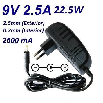 Cargador Corriente 9V 2.5A 2500mA 2.5mm 0.7mm 22.5W: Amazon ...