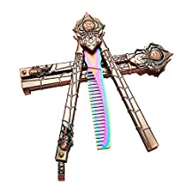 CREATIVE LIFE Spider Rainbow Butterfly Knife Trainning Practice Comb Unsharpened Blade With Nice Wooden Box