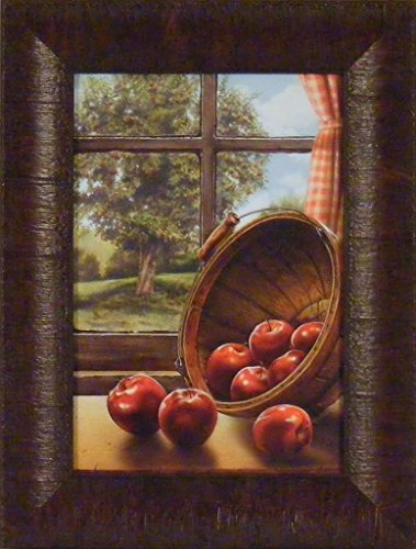 Rustic Apple (Red Delicious by Doug Knutson 10x13 Apple Barrel Window Tree Kitchen Décor Country Framed Art Print Picture)