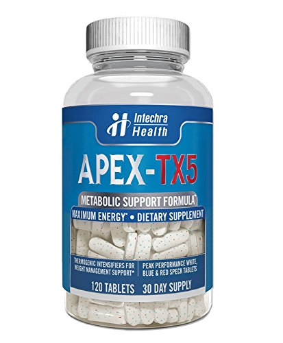 APEX-TX5 Weight Management Dietary Supplement 120 White Blue Red Speck Tablets Made in the USA Highest Professional - Intensifier Thermogenic