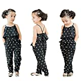 Frogwill Kids Girls Heart Printed Rompers Summer Jumpsuit Outfit (6T, Black)