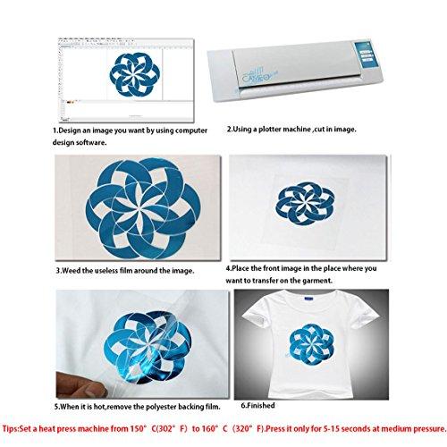 HOHO - Vinilo metálico de transferencia de calor para ropa de vinilo HTV por Plotter Cutter 25,4 x 30,5 cm 10