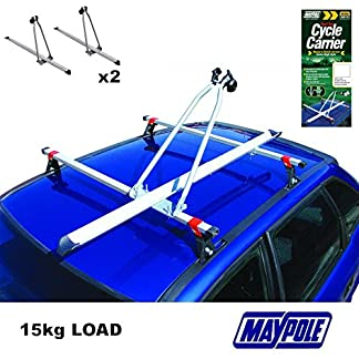 Maypole 2X New RB1050 CAR ROOF MOUNTED UPRIGHT CYCLE BIKE CARRIER 15KG 9