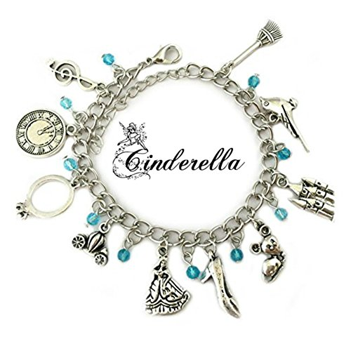 Cinderella 10 Charms Lobster Clasp Bracelet in Gift Box by Superheroes