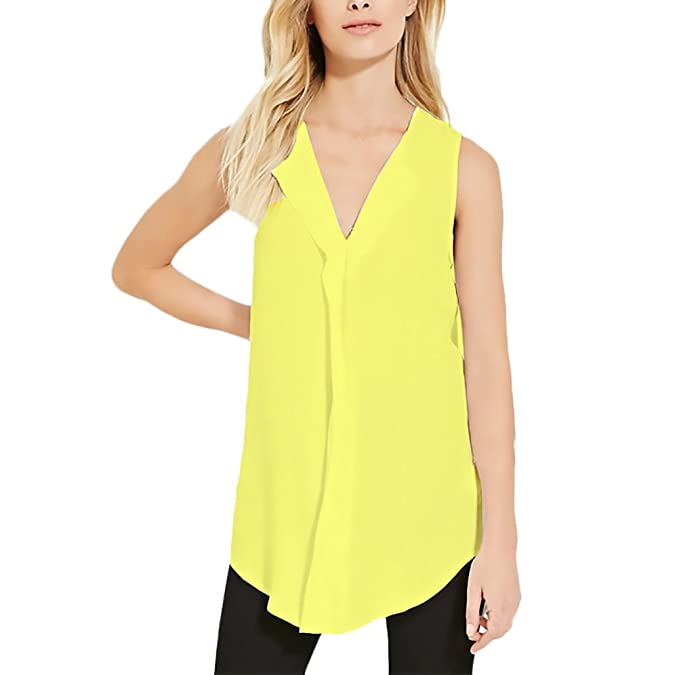 HX fashion Camiseta Sin Mangas Mujer Elegantes Verano Blusas Sencillos Diario Casual Camisa De Gasa V
