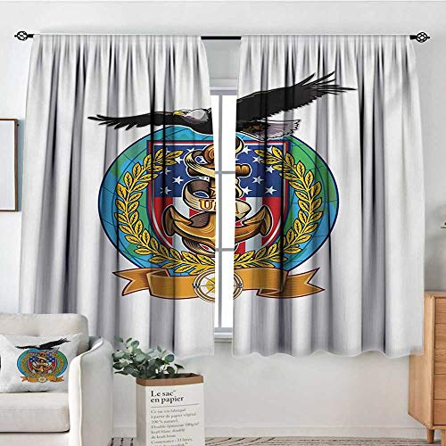 - Mozenou US Navy Patterned Drape for Glass Door Flying Bald Eagle with an Anchor and a Windrose Symbol of Freedom United States Waterproof Window Curtain 72