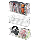 mDesign Video Games, DVD, CD Box Case Media Entertainment Plastic Baskets Bins Holders Storage Organizers - Set of 3, Clear