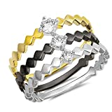 CloseoutWarehouse Clear Cubic Zirconia Center Tri Tone Marquise Band Ring Sterling Silver Size 8
