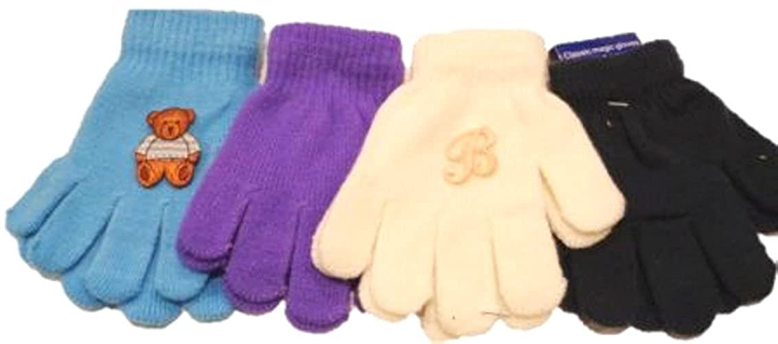 Four Pairs One Size Stretch Magic Gloves for Infants Toddlers Ages 1-3 Years